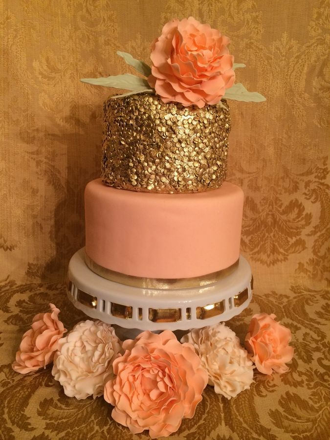 Gold Sequin Cake. The sequin is make with confetti ...