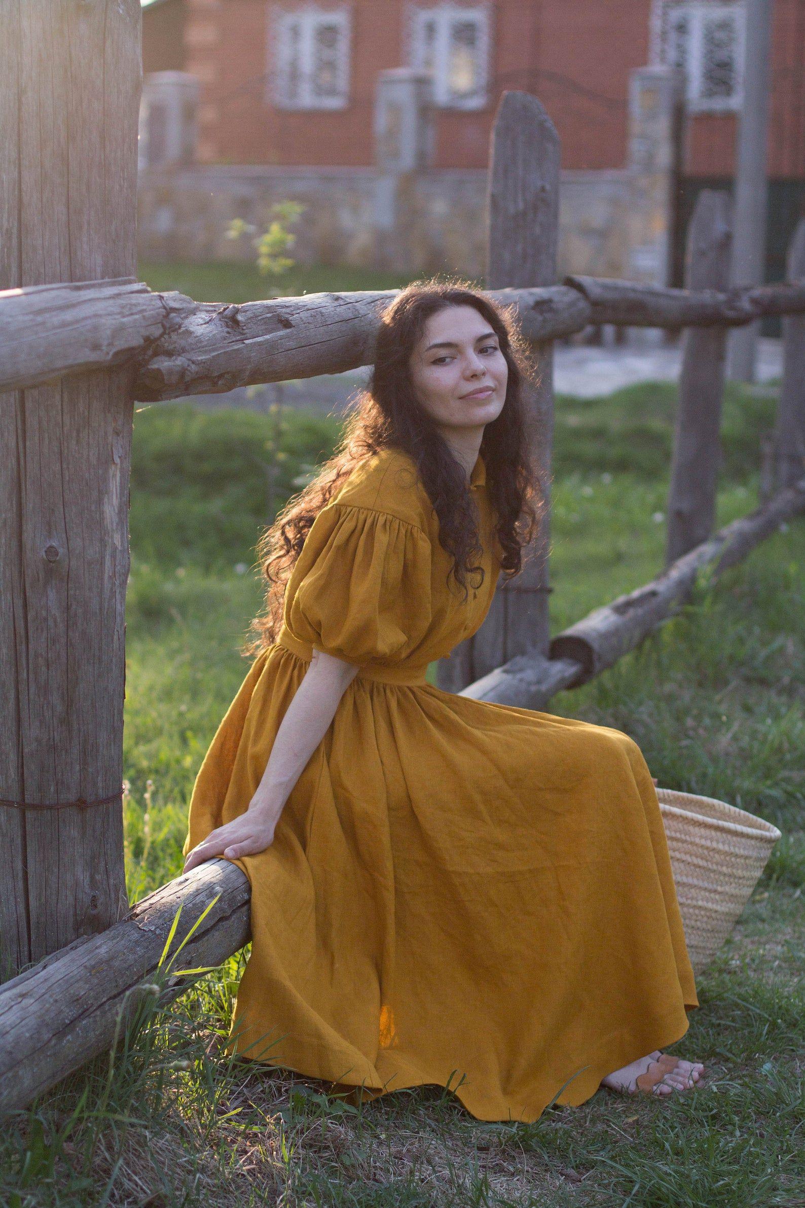 Meg dress in mustard with short sleeves linen dress etsy