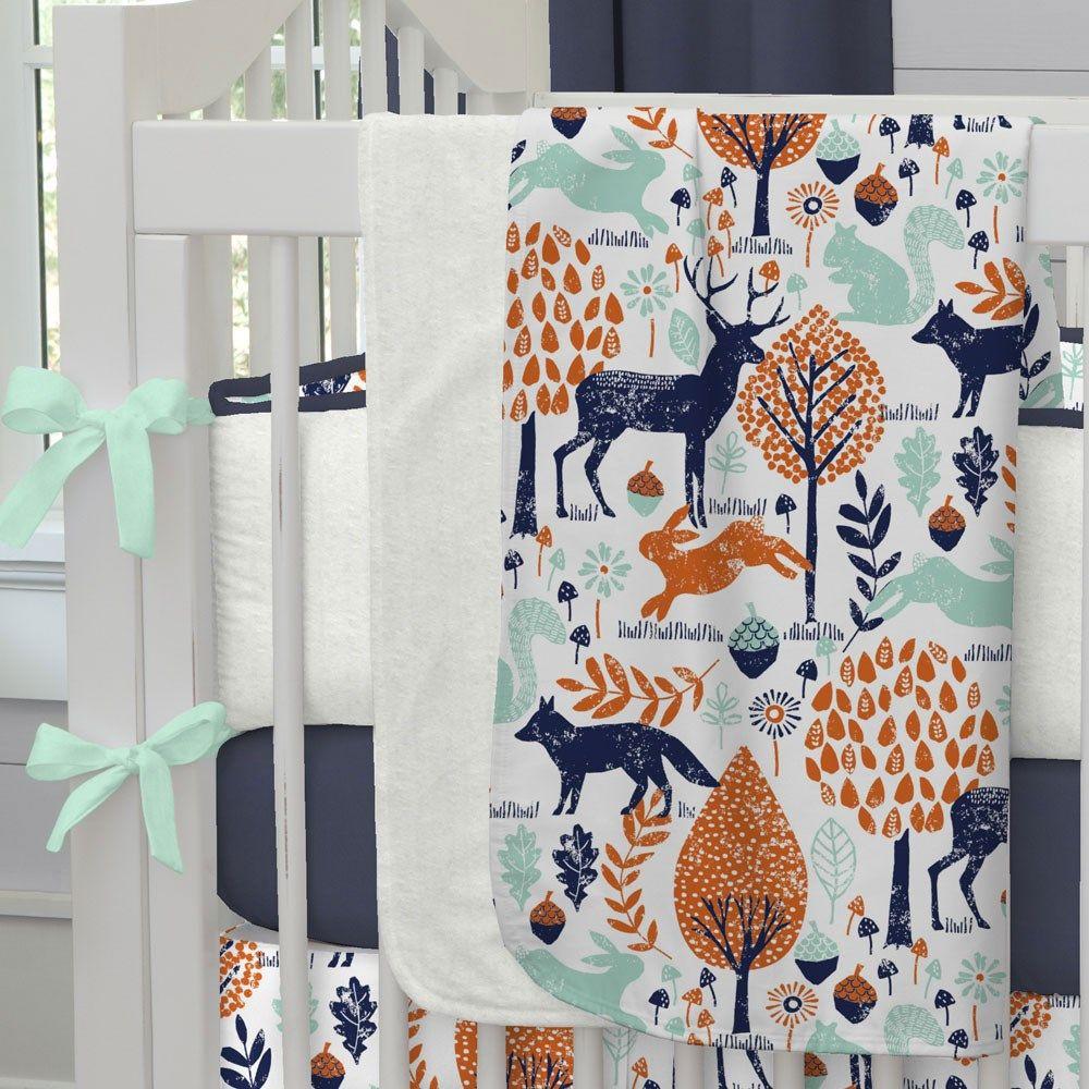 Navy And Orange Woodland Crib Blanket Woodland Nursery