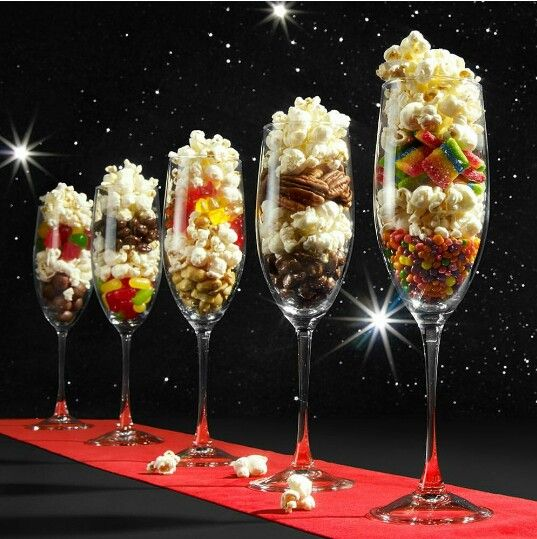 Rock Candy Filled Champagne Glasses: This Would Be Fun For A Party Table. Candy, Snack, Popcorn