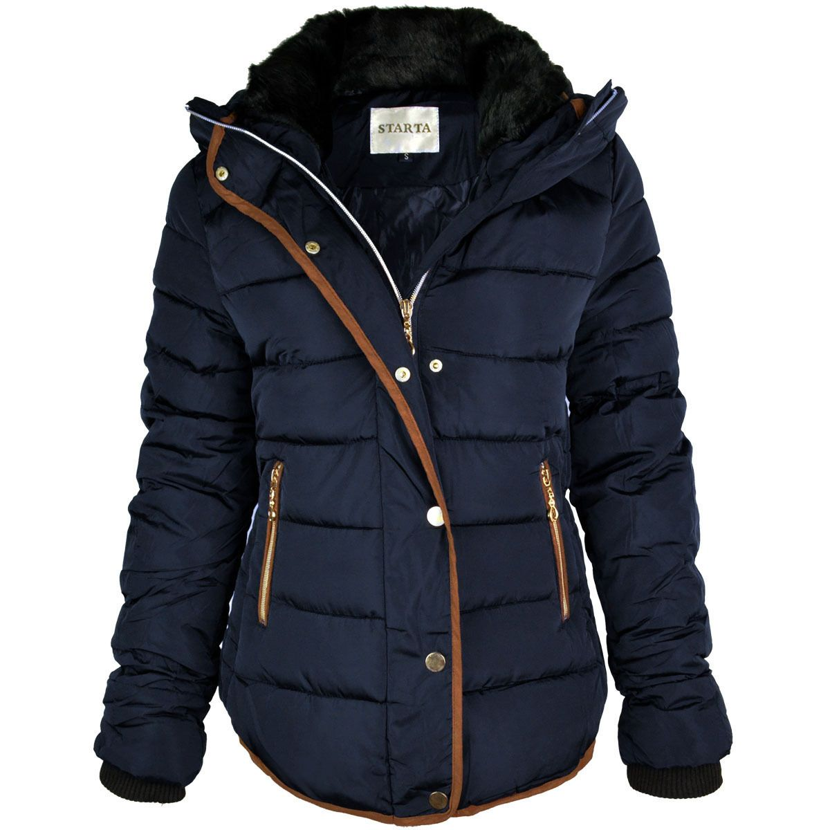 Womens Ladies Quilted Winter Coat Puffer Fur Collar Hooded Jacket