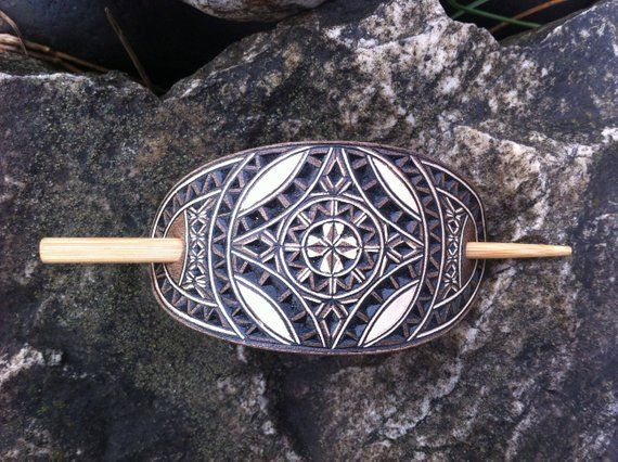 Photo of Geometric hand carved leather hair barrette – tooled leather jewelry – Stick Barrette – Hair Slide – Haarspange aus Leder