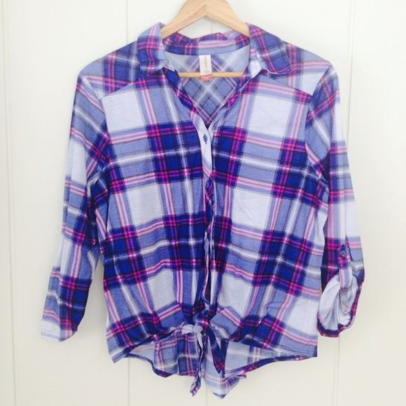 Pink & Blue Plaid Front-Tie Shirt This is meant to be a Juniors top (XXL/2XL, 19) but oh it's so cute as a regular sized Medium! So adorable over a white tank and cut off jean shorts for summer! Rich, bright colors. Button-down with front tie. Lower in back. Hardly worn, in great condition. No Boundaries Tops Button Down Shirts