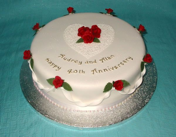 40th Wedding Anniversary Cake Ideas 40th Anniversary Round