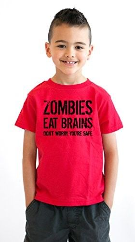 3098585ea Youth Zombies Eat Brains Shirt Funny Zombie T shirts Living Dead Zombie  Outbreak Tees (Red) S, Boy's, Size: Small