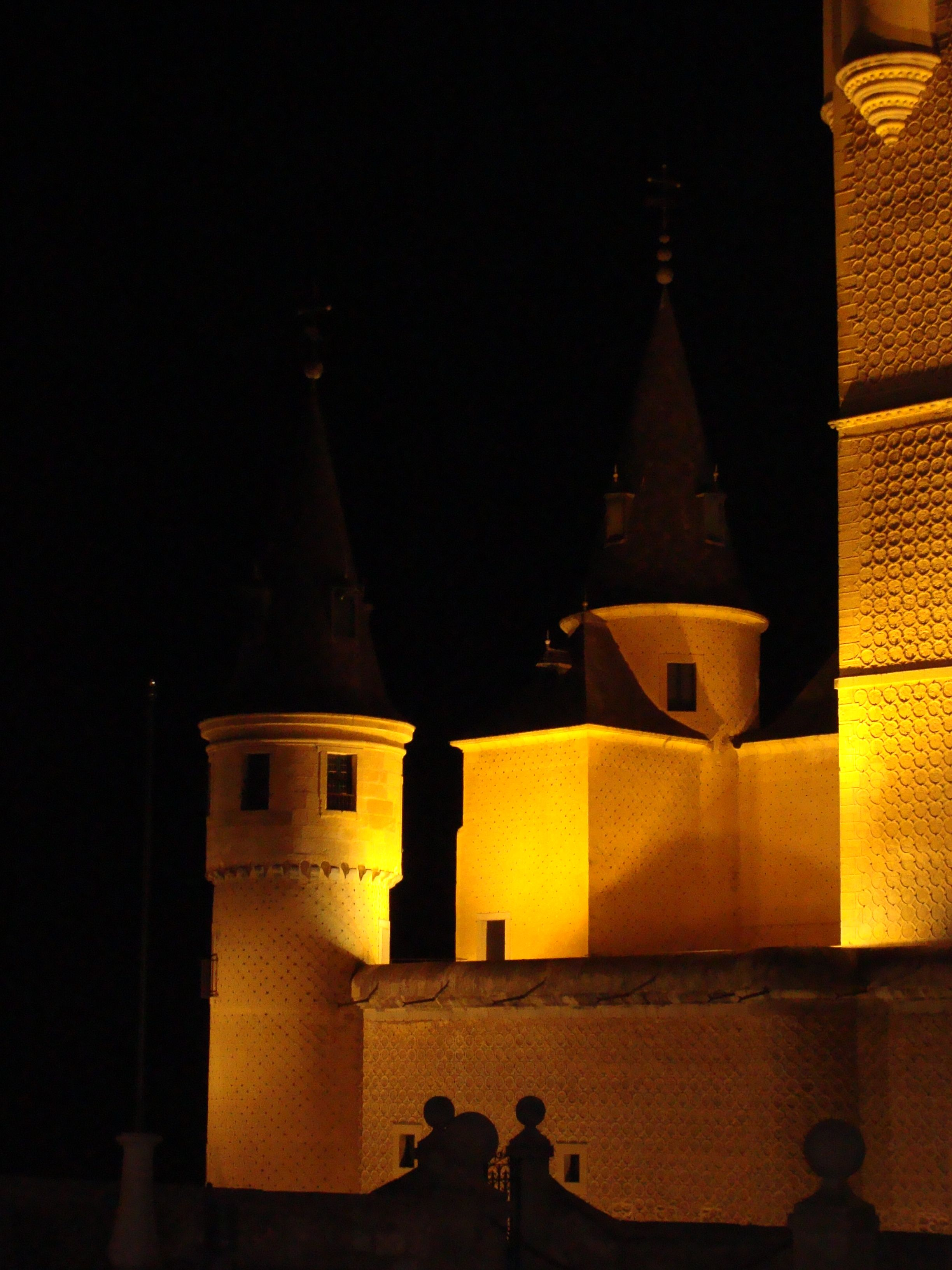 Segovia castle at night.