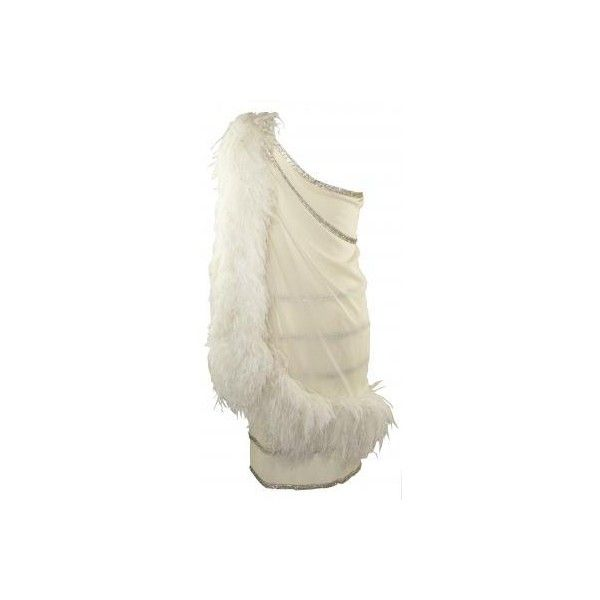1980'S Haute Couture White Marabou Feather Dress ❤ liked on Polyvore featuring dresses, white, vintage, women, white fitted dress, vintage dresses, vintage 20s dresses, vintage flapper dress and white corset