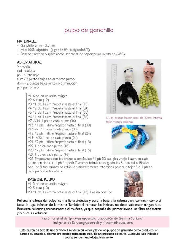 Patrón de pulpo amigurumi | nounours,amigurumi,poupées ect.. à ...