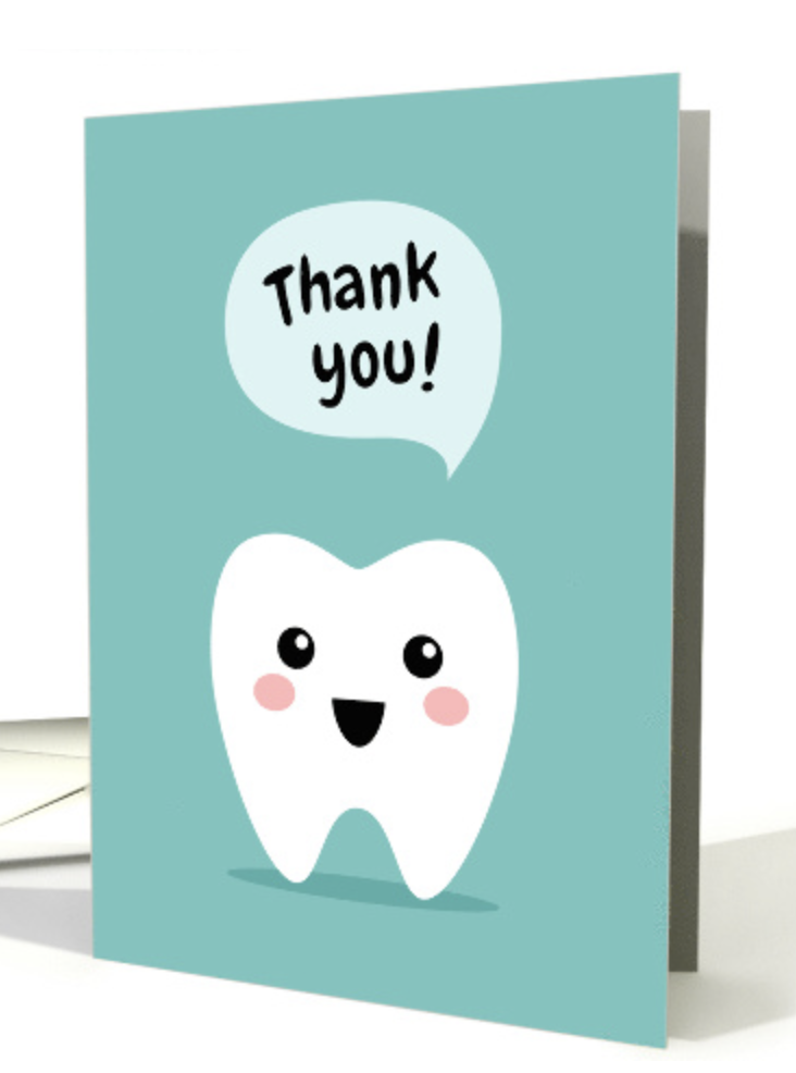 Dental Thank You Card With Cute Tooth Card Thank You Cards From Kids Birthday Card Drawing Congratulations Card