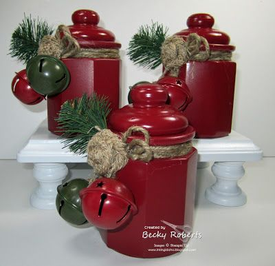 Inking Idaho-- I painted cheap-o glass jars with spray paint then decorated them for Christmas.