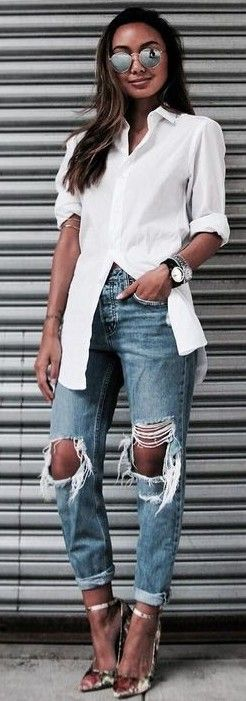#fall #trending #outfits | White Shirt + Destroyed Denim