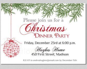 Christmas Eve Dinner Party Invites Templates   Google Search  Christmas Dinner Invitation Template Free