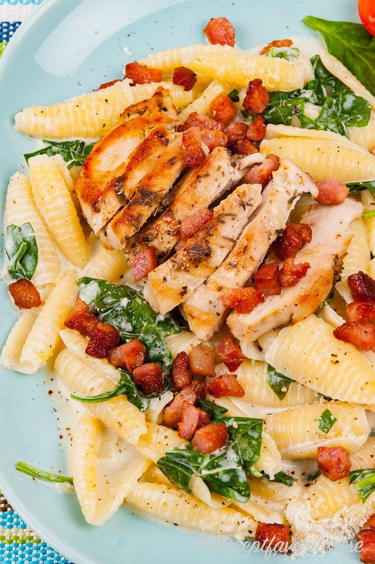 Pasta Med Kyckling Pancetta Och Spenat Recept Recept