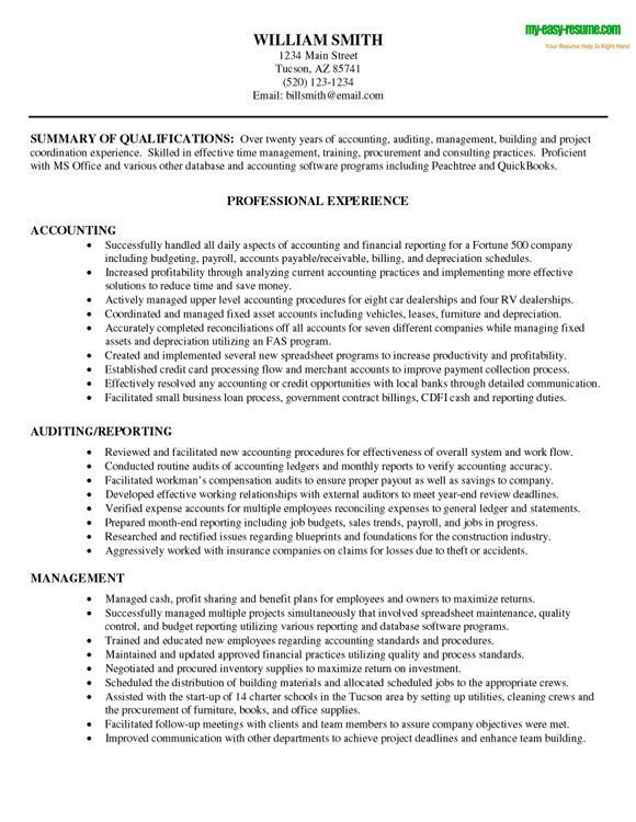 accounting resume sample for one our clients the example finance - Professional Objective For Resume