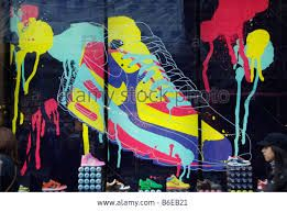 Nike shop window display in the form of a giant trainer shoe painted with aerosol cans에 대한 이미지 검색결과