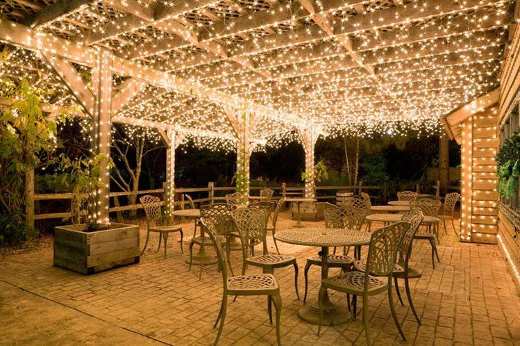 icicle lights shimmer across pergola ceilings - There's A Party In My Pergola Garden Pinterest Lighting, Patio