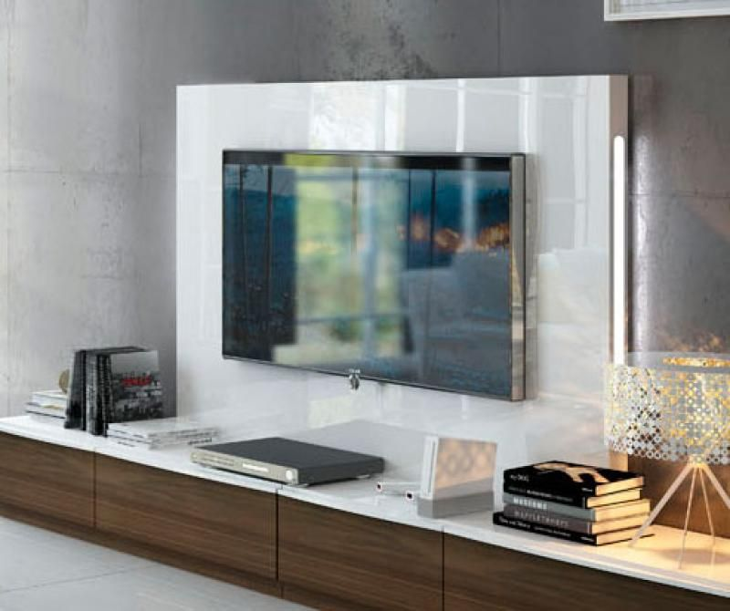 Contemporary Wall Storage System With Low TV Unit And Back Panel