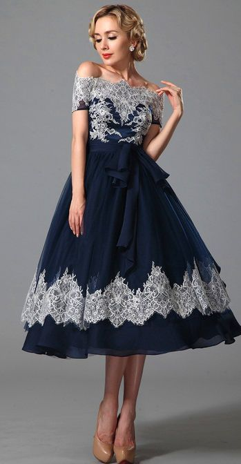 6ab9832b37 Vintage Off Shoulder Navy Blue Cocktail Dress (04151905) | eDressit ...