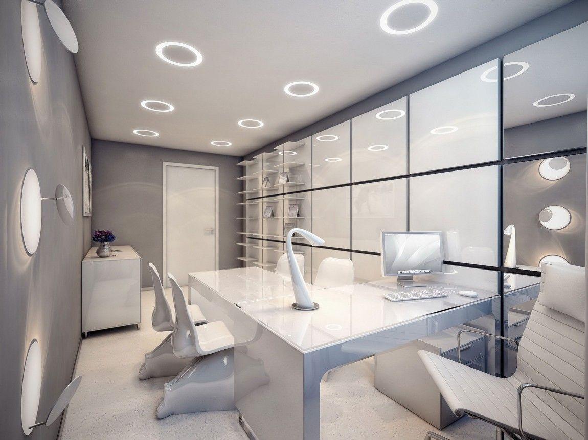 Futuristic Surgery Clinic Interior With Beautiful Recessed Light Effect And White Furniture Ideas Decoration