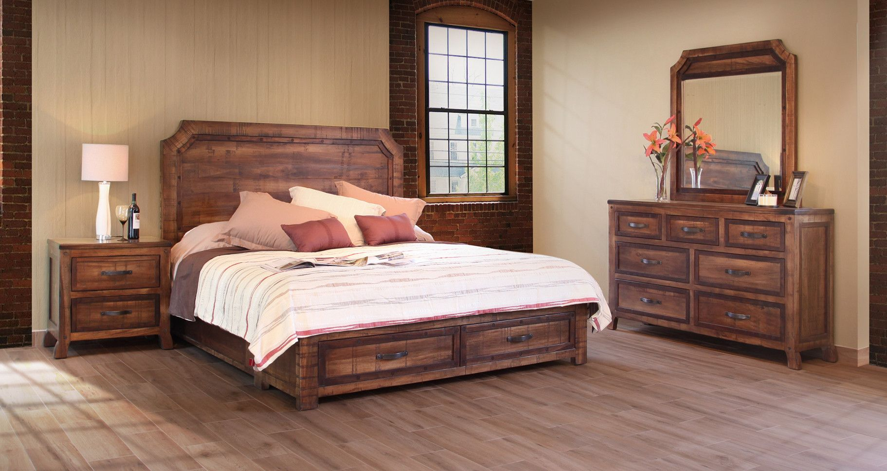 This Regal Solid Wood Rustic Bedroom Suite Cal King Size Is 100