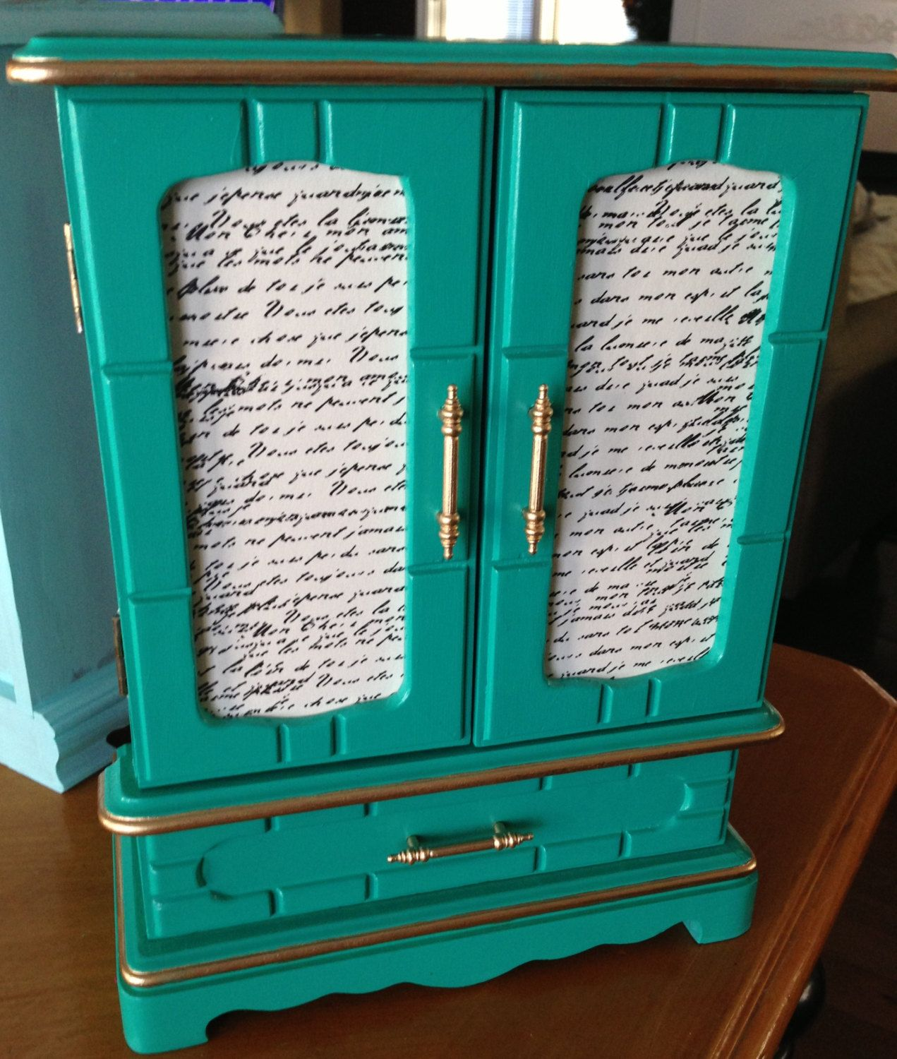 Vintage UpCycled Jewelry Box Armoire Hand Painted Decoupaged