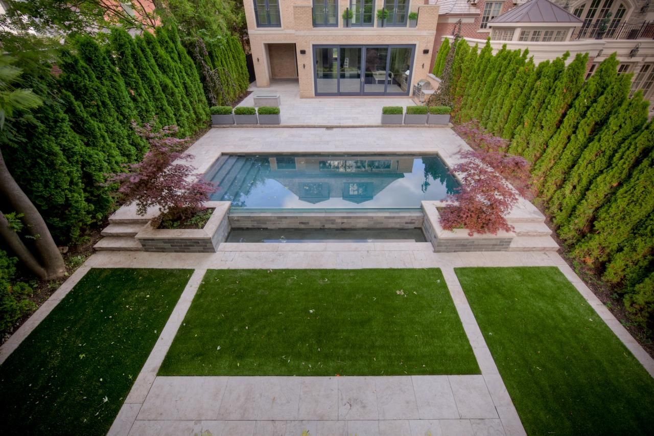 Check out this great article from HGTV with 17 swimming pool landscape designs! EasyTurf is featured with this beautiful, picturesque courtyard pool.