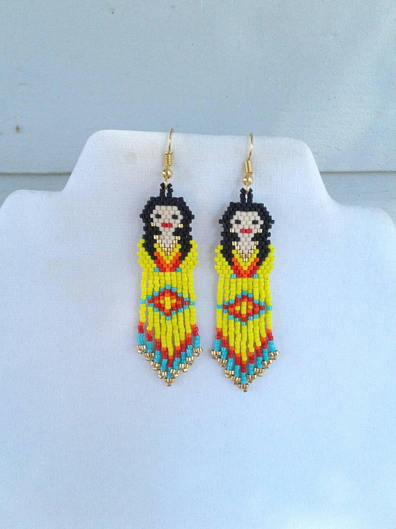 Native American Style Beaded Yellow Indian Doll Earring Southwestern ...