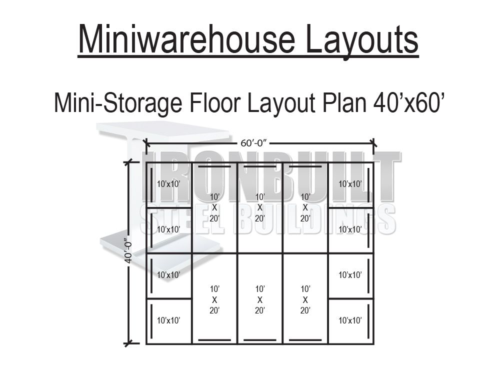 Dwg 40x60 Jpg 1000 750 Self Storage Units Mini Storage Storage Unit Sizes