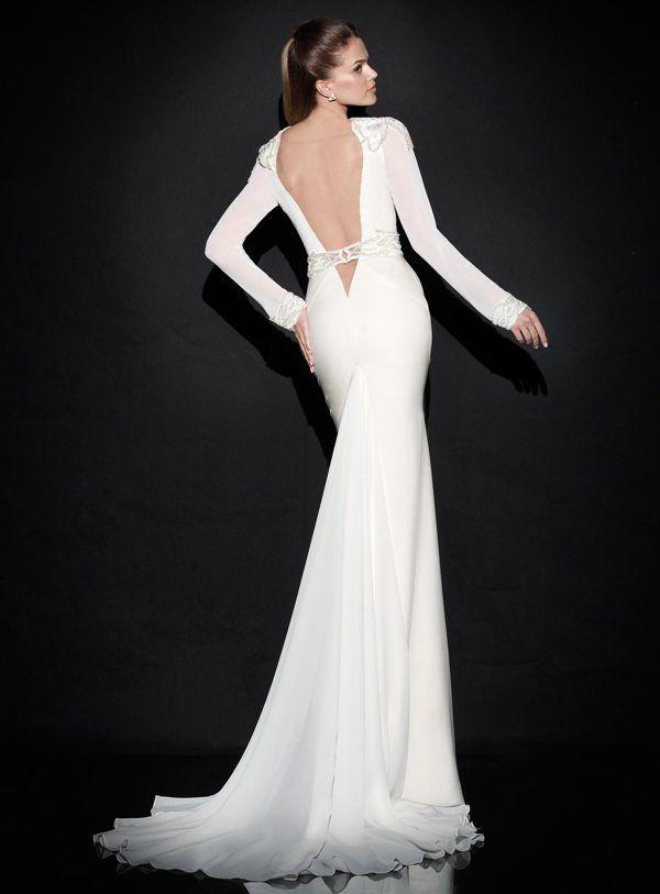 Beyaz Dar Uzun Uzun Kollu Dantel Detayli Abiye Elbise Arkadan Gorunum Aksamustu Giysileri The Dress Gelinlik Stilleri