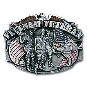 Vietnam Veteran Enameled Belt Buckle