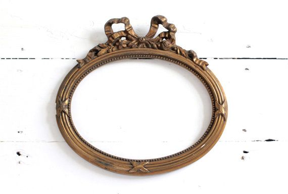 Antique French Frame 1800s Shabby Oval Bow Frame by CrolAndCo ...