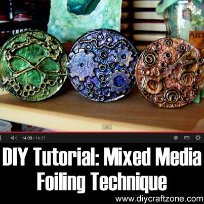 DIY Tutorial: Mixed Media Foiling Technique Tutorial ►► http://www.diycraftzone.com/diy-tutorial-mixed-media-foiling-technique-tutorial/?i=p