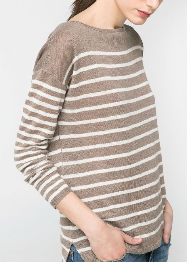 Mango gestreepte linnen trui met boothals, afhangende schoudernaden, MEER  http://www.pops-fashion.com/?p=11001