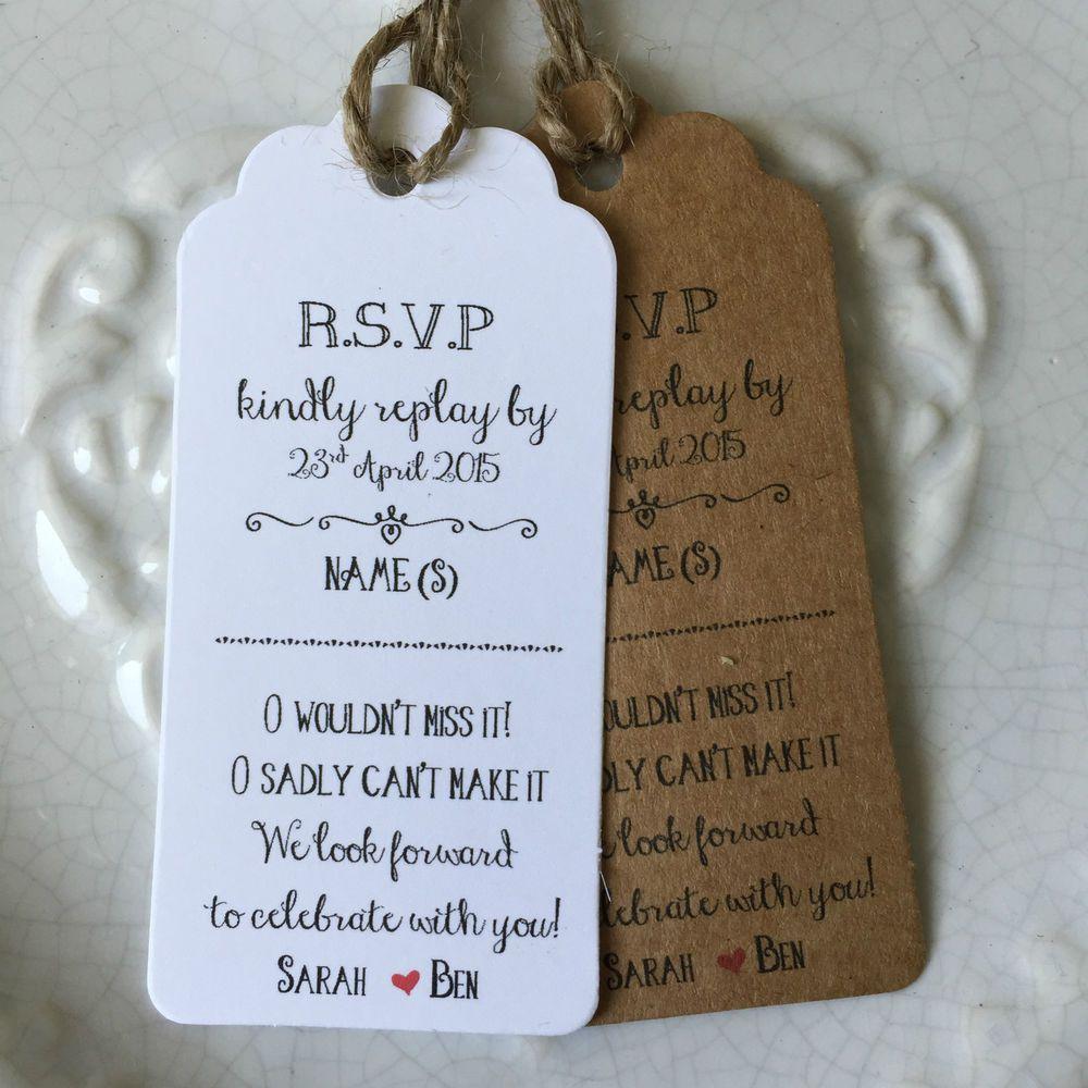 Personalised Wedding RSVP Card Gift Tag Rustic