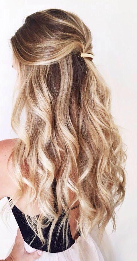 Balayage half up half down curly hair #gorgeoushair ...