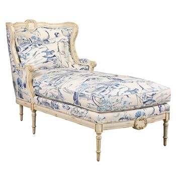 Bayonne 2019 Chaise Geisha Upholstered Lounge French Country Blue In 8nXk0wPO