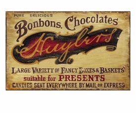 Customizable Bonbons Chocolates Vintage Style Wooden Sign