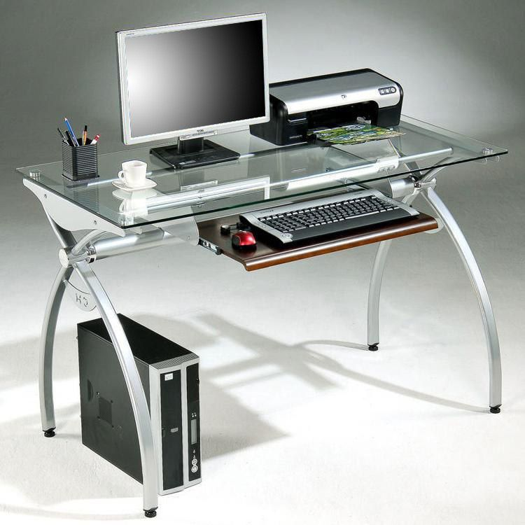 brand new ef895 428d6 Tempered Glass-top Steel Frame Computer Desk (Glass), Silver ...