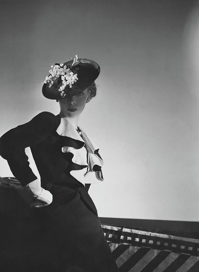 Photograph - A Model Wearing A Black Suit by Horst P. Horst #affiliate , #AFFILIATE, #Ad, #Wearing, #Horst, #Suit, #Model