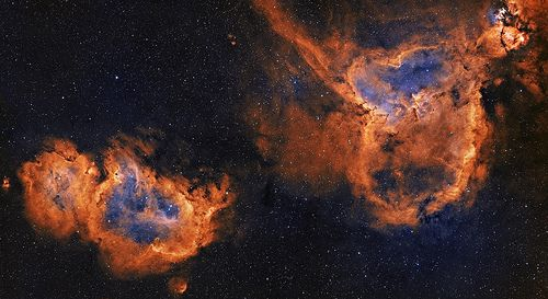 IC1805 and IC1848 mosaic - Heart and Soul