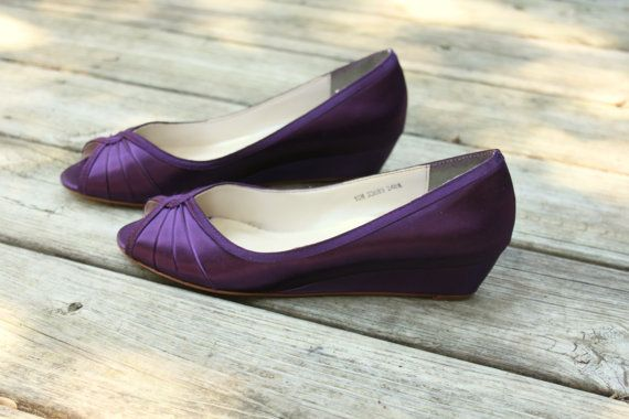 Purple Wedding Shoes Wedge Low Heel 1 Inch By Thecrystalslipper 100 00 Wedge Wedding Shoes Wedding Shoes Purple Wedding Shoes
