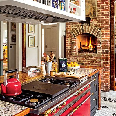 9 cozy kitchens with fireplaces — kitchen inspiration | cozy