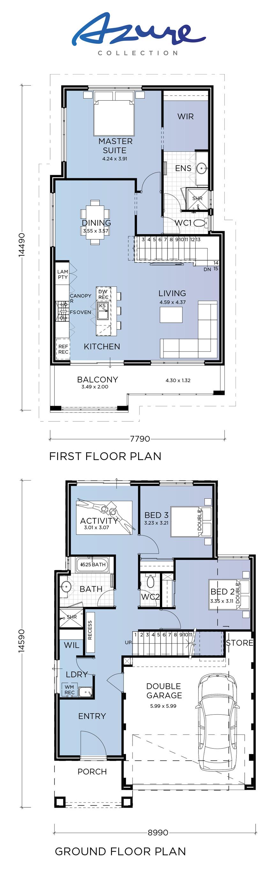 Sorrento Azure Collection Double Storey House Plans House Floor Plans House Plans