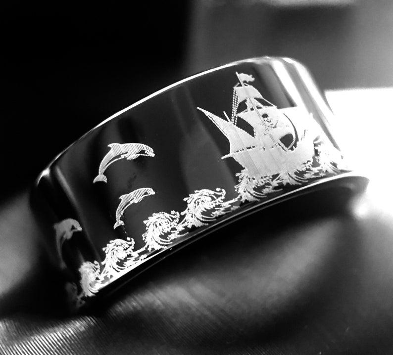 Mens Tungsten Ring, Pirate Ship Pattern Engraved Black
