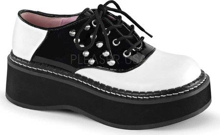 a15dcfb3121b Women s Demonia Emily 303 Saddle Shoe with FREE Shipping   Exchanges. The  Demonia Emily 303 Saddle Shoe features 5-eyelet lacing and spikes on