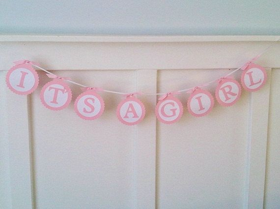 611521a99 IT S A GIRL Paper Banner Baby Shower Bunting Nursery Decor.  9.00 ...