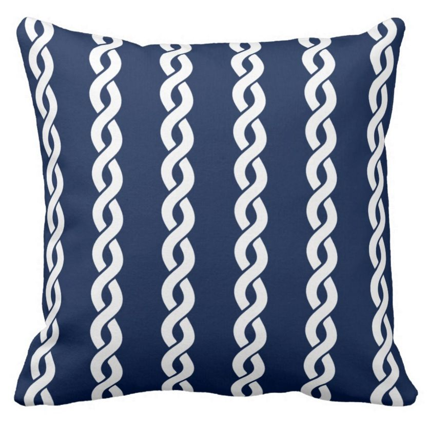 Navy blue with white nautical rope print. Fresh and clear looking throw pillow for nautical living room and bedroom. For sailors and everyone who loves nautical, Hamptons, Nantucket and New England Style. #nautical #decor #pillow