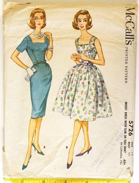 Vintage 1950s Dress Pattern w/ Slim or Full Skirt - Bust 34 McCalls 5726
