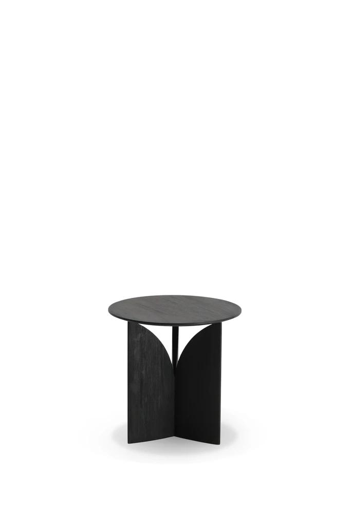 Teak Fin Black Side Table Varnished Black Side Table Side Table Geometric Side Table
