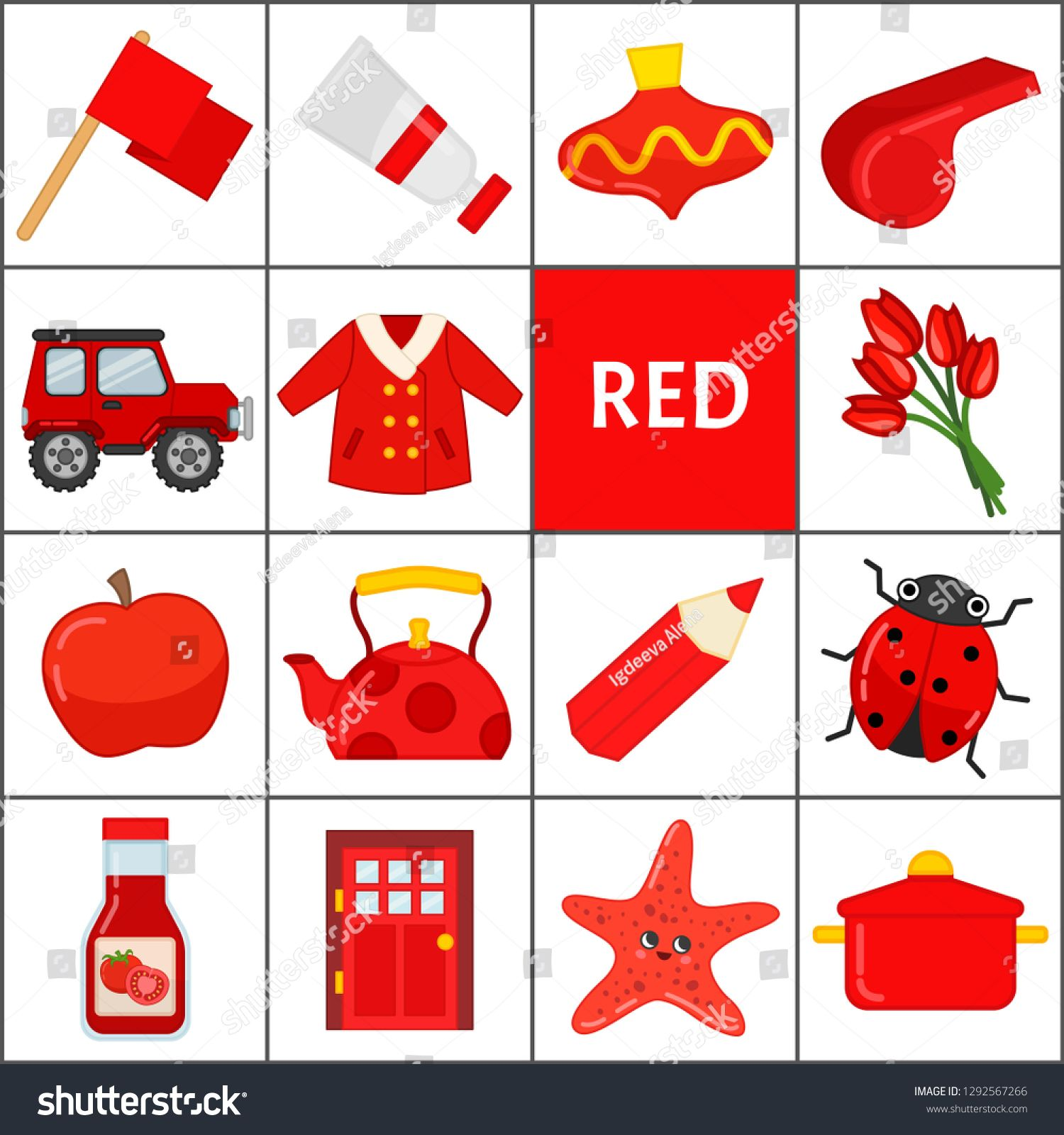 Learn The Primary Colors Red Different Objects In Red